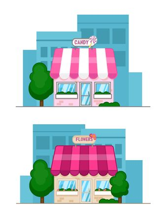 Flat design vector illustration of small business concept. House with shop. Flat candy shop and flower shop Stock Illustratie