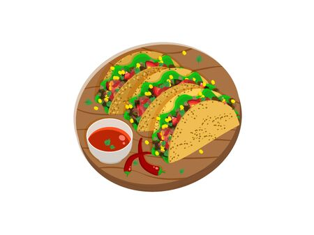 Three Mexican tacos on a wooden tray with spicy sauce and chili peppers. Vector illustration.