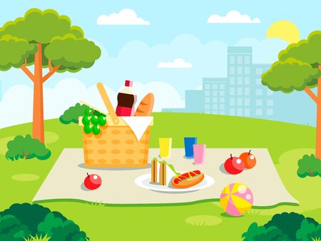 Summer picnic on forest background. Family concept with picnic party stuff