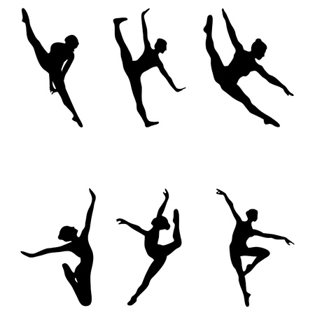 Set of six ballet girls dancers silhouettes