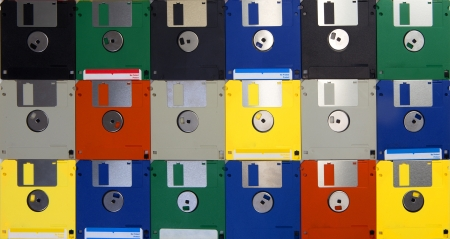 Many computer floppy disks arranged as a pattern in studio