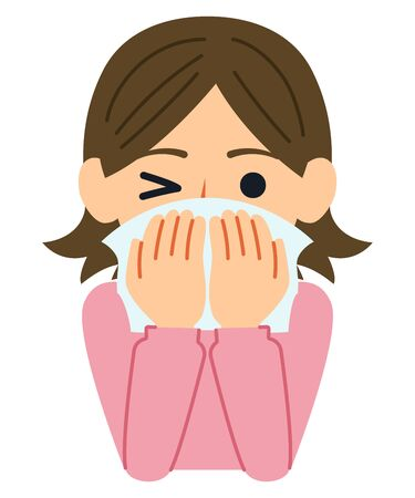 A good example of cough etiquette is to your mouth and nose with a tissue or handkerchief when you don't have a mask. Illustration