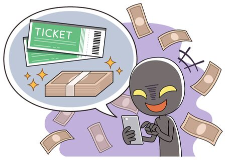 Bad people selling tickets at high prices on internet auctions using smartphones.