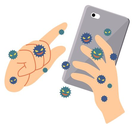 An example where a virus is attached to a smartphone by touching it. Vettoriali