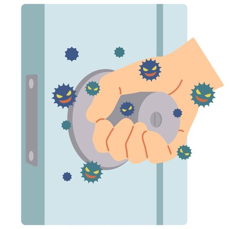 An example in which a virus is attached by touching the door knob used by everyone.
