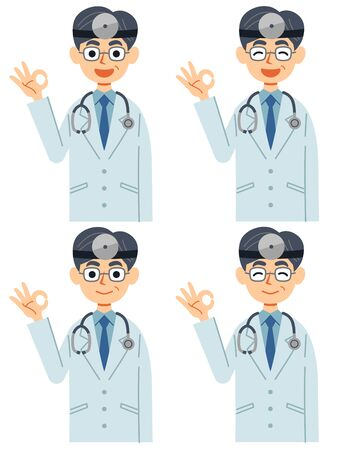 A set of 4 doctors with a head mirror and a stethoscope to ok with a smile.