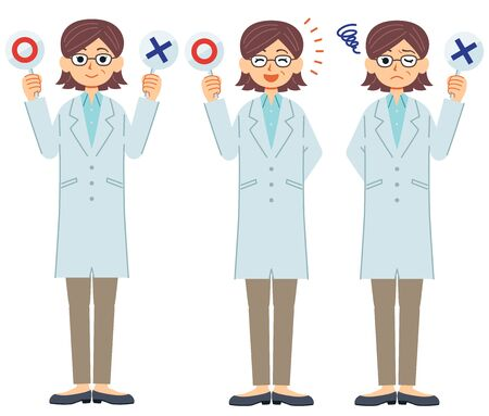Female doctor or science teacher answering yes or no to question.