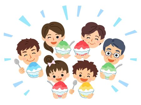 Family-friendly summer. The grandparents, parents, sons and daughters all smile and eat shaved ice.
