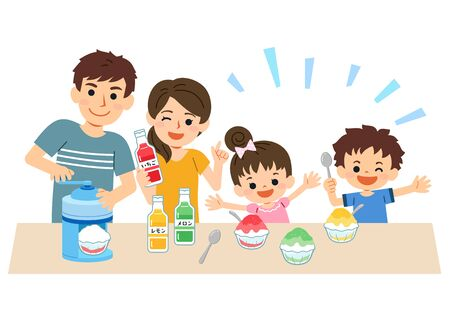 Family-friendly summer. Parents, sons and daughters, and the whole family smile and make shaved ice.