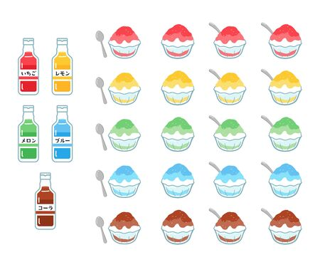 Illustration set of 5 types of syrup-shaved ice in a glass bowl. Strawberry flavor, lemon flavor, melon flavor, blue Hawaiian flavor, cola flavor.