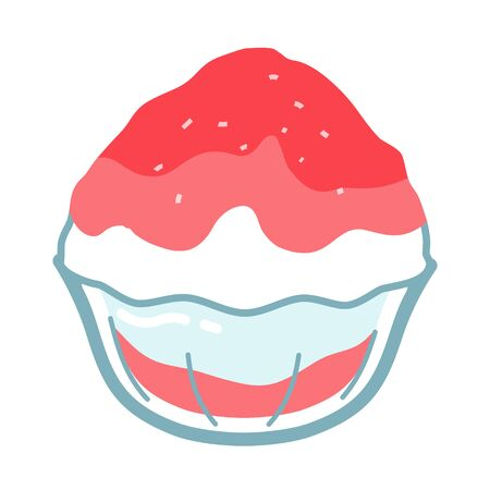 Simple vector illustration of strawberry-flavored shaved ice in a glass bowl. The shaved ice in a glass bowl in summer is cool and Japanese.
