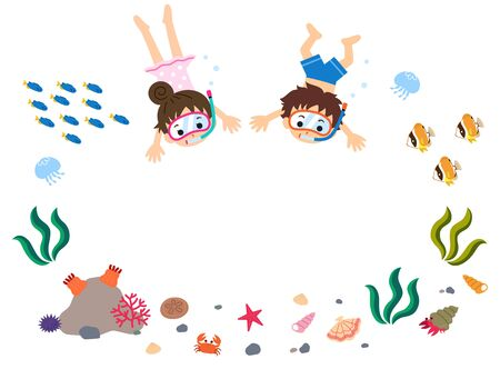 Colorful and cute summer illustration frame of sea creatures such as boys and girls swimming in the sea, tropical fish, shellfish, crustaceans, anemones, starfish, jellyfish.