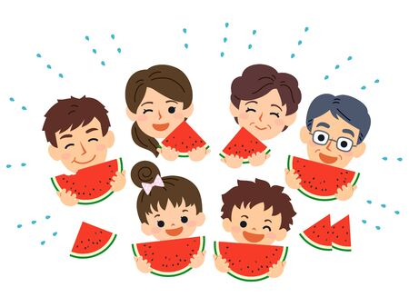 Family-friendly summer. Grandparents, parents, sons and daughters all smile and eat watermelons.