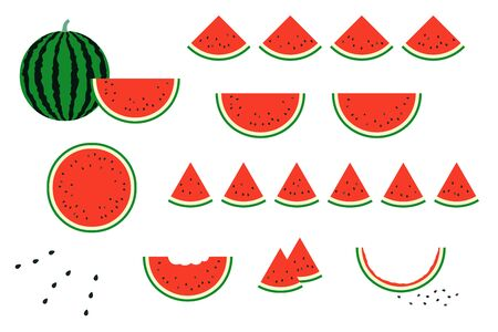 Set of simple and cute vector illustrations of red watermelon. Red watermelon shape gradually eaten and salt for seasoning. Vettoriali