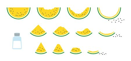 Set of simple and cute vector illustrations of yellow watermelon. Salt that gradually increases the shape of yellow watermelon and is seasoned. Vettoriali