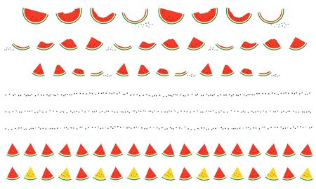 Decorative border illustration of simple and cute vector illustration of red and yellow watermelon. A set of watermelons that are gradually eaten, lined watermelons, and fun decorative ruled lines with a seed motif. Vettoriali