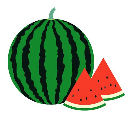 A simple vector illustration of a typical summer fruit, a large striped watermelon and a triangular watermelon. Vettoriali