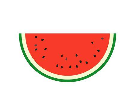 Simple vector illustration of summer fruit, juicy red watermelon halved. Ilustración de vector