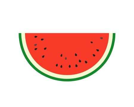 Simple vector illustration of summer fruit, juicy red watermelon halved. Vettoriali