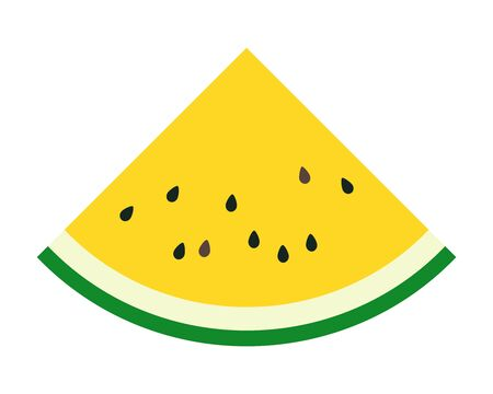 Simple vector illustration of a typical summer fruit, a triangle-shaped juicy yellow watermelon.