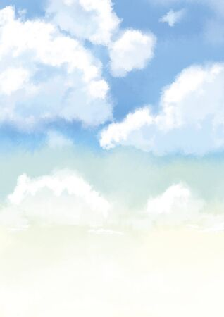 Beautiful gradient watercolor illustration of clouds in the sky.