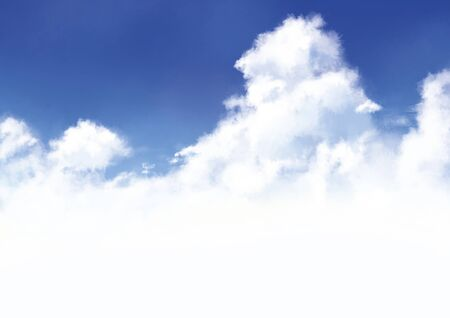 Watercolor illustration of a large entrance cloud floating in the blue summer sky.