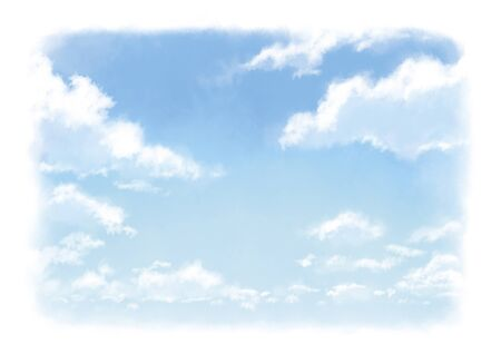 Frame of watercolor illustration of clouds in the beautiful sky. Archivio Fotografico