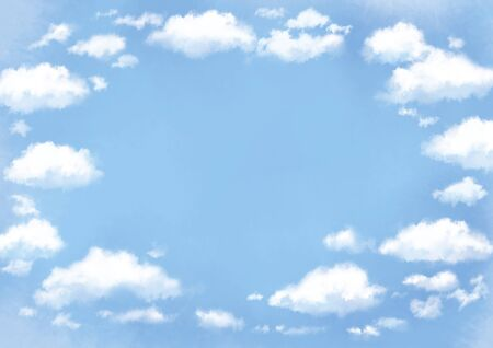 Frame of watercolor illustration of clouds in the blue sky.