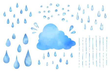 Set of watercolor vector illustrations of cute clouds and rain drops. Vettoriali