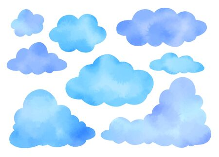 Set of watercolor vector illustrations of blue clouds.