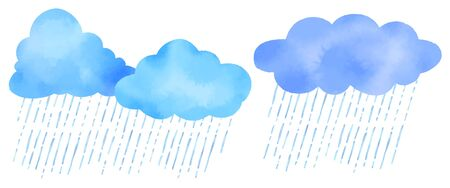 Watercolor vector illustration of cute clouds and heavy rain.