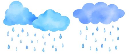 Watercolor vector illustration of cute clouds and rain drops. Vettoriali