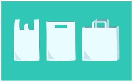 Vector illustrations of simple shopping bags, plastic bags and paper bags with the image of eco activities.