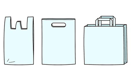 Vector illustration of simple white shopping bag, plastic bag, paper bag.