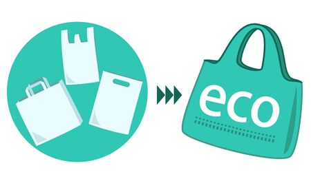 Illustration to recommend that you stop shopping bags and have an eco bag. Vettoriali