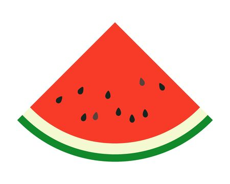 Simple vector illustration of a summer typical fruit, a juicy red watermelon cut in a triangle.