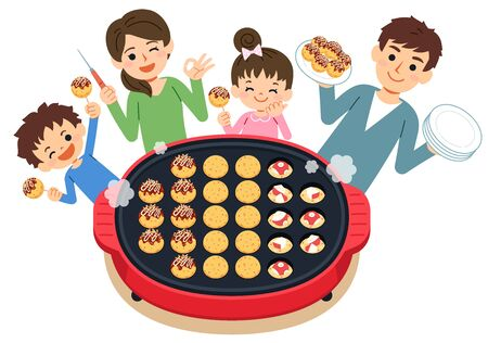 One scene of the family. A fun landscape where you can have a meal while you are cooking with your family. Have a Takoyaki party on the hot plate. Vettoriali
