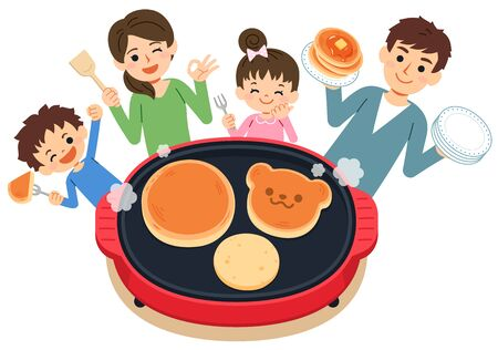 One scene of the family. A fun landscape where you can have a meal while you are cooking with your family. Have a pancake party on the hot plate.