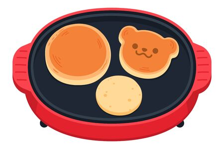 A lot of delicious delicious pancakes are baked, and a cute red and round hot plate.