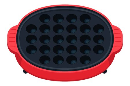 Kitchen utensils. A cute red and round shaped hot plate for baking takoyaki.