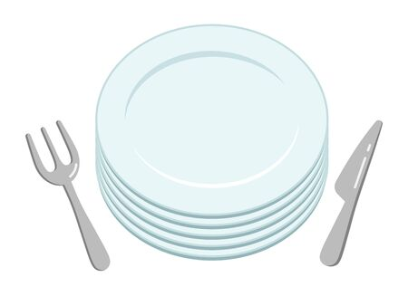 A simple empty white stacked plate and knife and fork viewed from above.