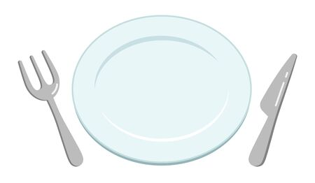 Top view illustration of a simple empty white plate, knife and fork. Ilustrace