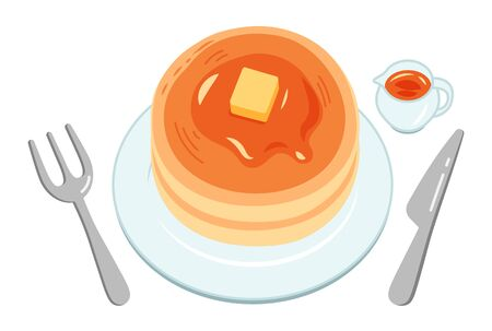 A round and cute two-layer pancake with syrup and butter on a white plate.