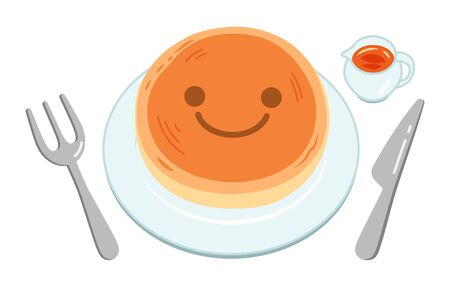 A cute pancake for children with a smiley face, which was placed on a white plate. Vettoriali