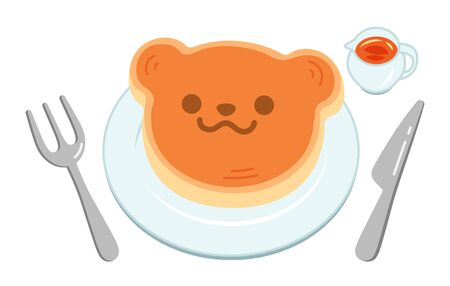 A cute bear-shaped pancake for kids placed on a white plate.