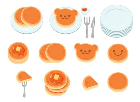 Illustration set of many simple and cute pancakes and tableware. Vettoriali