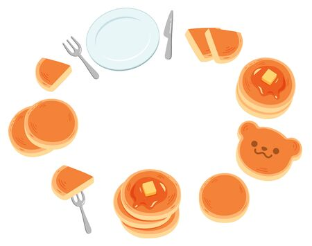 A fun background frame with lots of simple and cute pancakes and dishes.