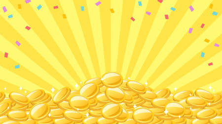 The background of the frame where colorful confetti and many gold coins are piled up like a mountain on the background of yellow concentrated lines.