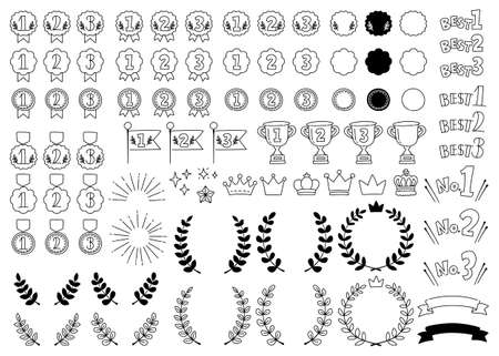 A set of cute hand-drawn line art ranking icons such as medals, crowns and trophies.