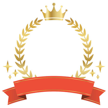 Gold shining laurel wreath and red ribbon ranking frame.